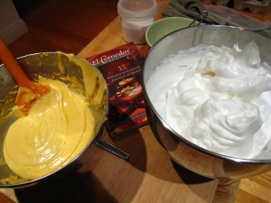 The egg yolk and meringue mixture