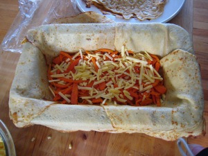 The carrot layer being assembled