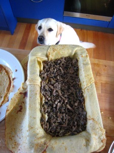The mushroom layer with Baci watching closely