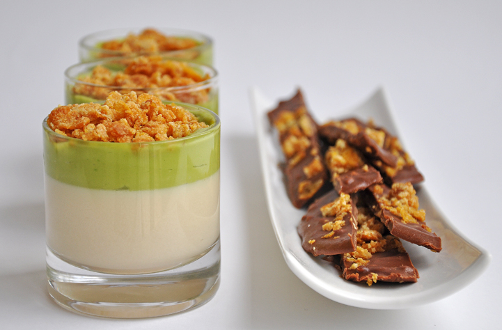 "Cereal Milk ""panna cotta"", avocado puree, caramelized cornflakes an..."