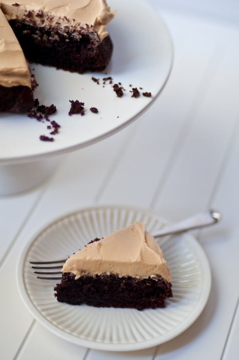 Devil's Food Cake with Peanut Butter Frosting | Trissalicious