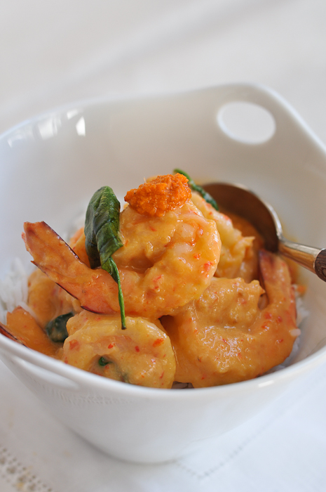 Prawns with Coconut Milk and Crab Fat