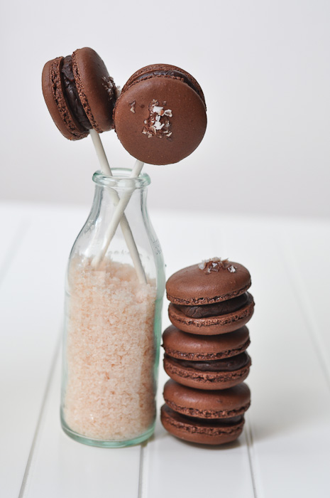Chocolate, Olive Oil and Sea salt Macaron Pops