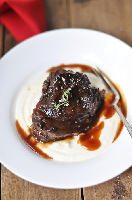 Braised Beef Cheeks with Pedro Ximenez Sherry and Cauliflower Puree