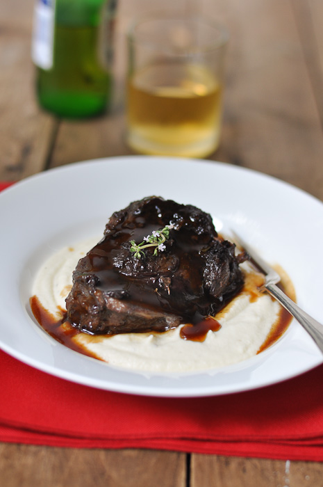 Braised Beef Cheeks with Pedro Ximenez Sherry and Cauliflower Puree