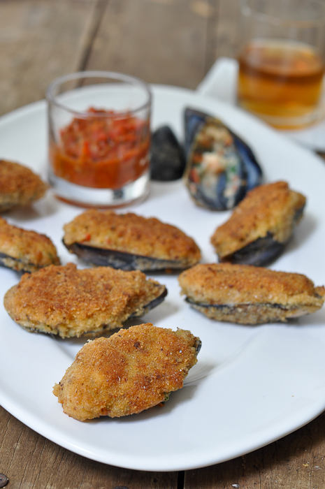 Bechamel and Prawn Stuffed Mussels