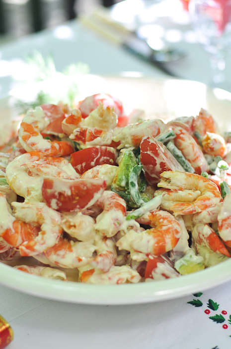 Prawn Salad with Avocado, String Beans and Tomatoes