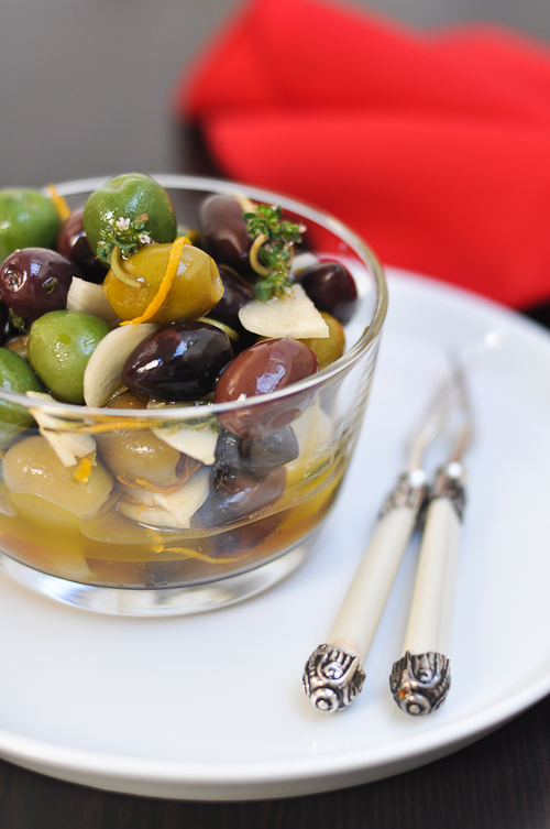 Olives marinated in orange and thyme infused olive oil