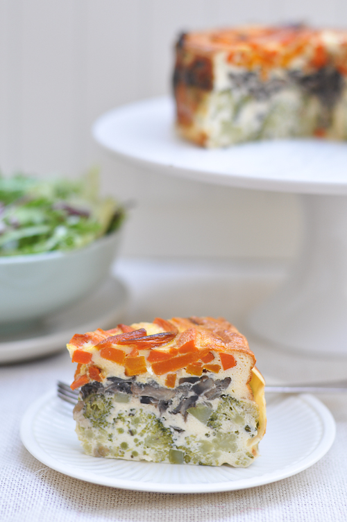 Vegetable Cake with carrots, broccoli and mushrooms