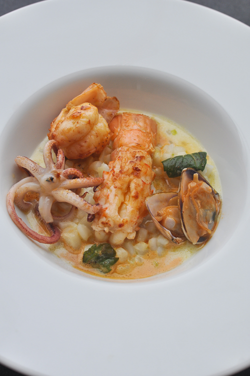 "Seafood ""Risotto"" with scampi, pippies and squid (but no rice!)"