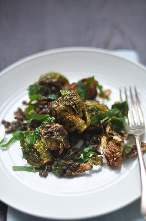 Crisp Brussel Sprouts with Lentils