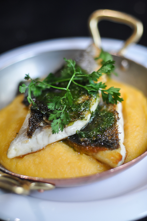 Sea Bass with Sweet Potato Mash