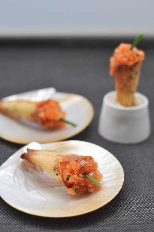 French laundry s salmon tartare cornets trissalicious for Canape cookbook