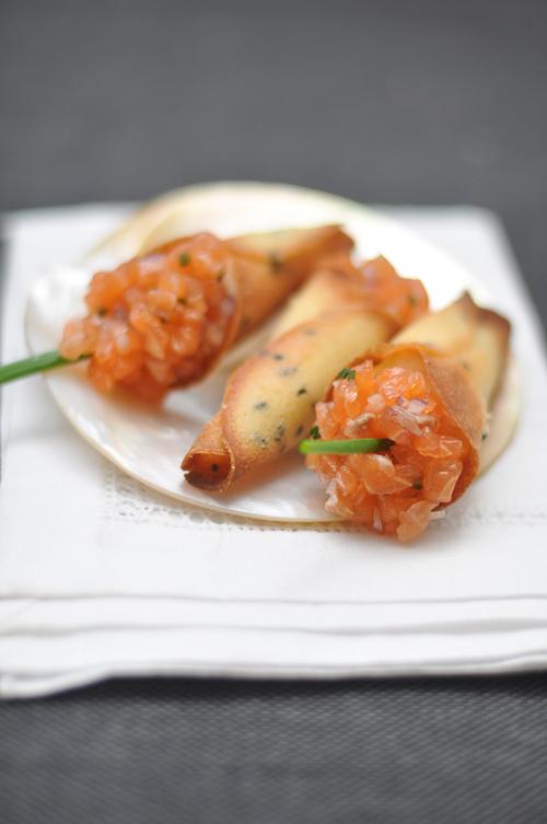 French Laundry's Salmon Tartare Cornets | Trissalicious