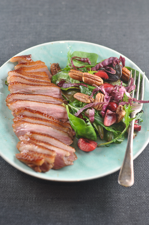 Duck Salad - with candied pecans, cherries and mixed greens