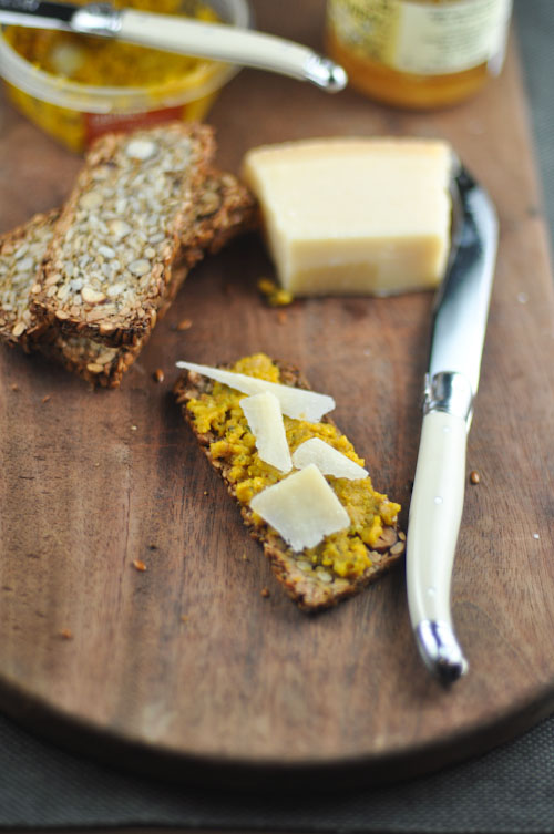 Life Changing Cracker topped with pumpkin and cashew dip